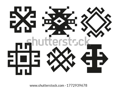 The sun, the moon (solar signs). Set Elements of a decorative pattern. In the style of the Celt, Aztec, Inca, Sumerian. Black-white vector. Theme for tattoo Stock photo ©