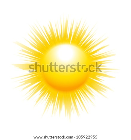 The sun with sharp rays isolated on white background. Vector illustration