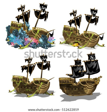 The sunken pirate ship overgrown coral polyps. Stage of growth and formation of coral reefs isolated on white background. Vector illustration.