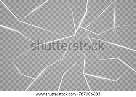 The surface texture is cracked on ice, isolated on a transparent background. Vector illustration. Broken glass.
