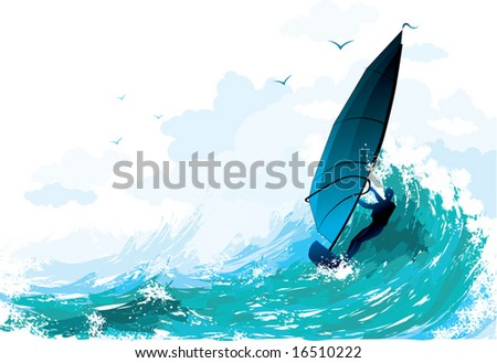 the surfer floating on waves