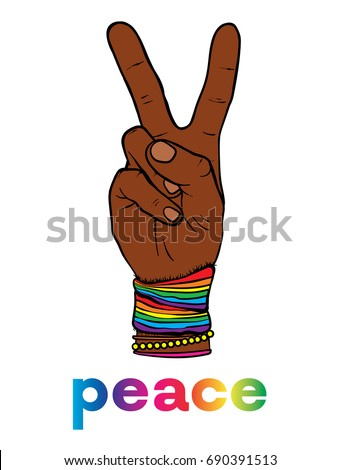 The symbol of pacifism and hippies is a hand with two fingers. Against racism, homophobia and war. Peace. Vector illustration for a postcard or a poster, print for clothes. LGBT.