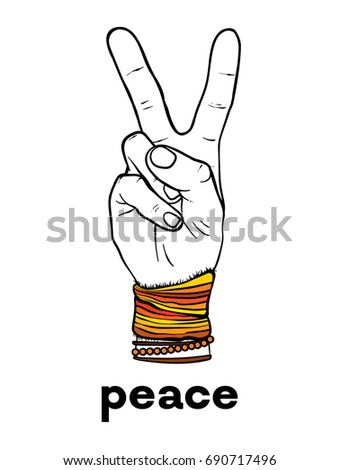 The symbol of pacifism and hippies is a hand with two fingers. Against racism, homophobia and war. Peace. Vector illustration for a postcard or a poster, print for clothes.