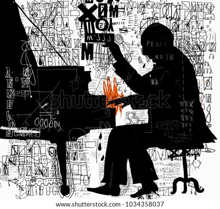 The symbolic image of a man who plays the piano