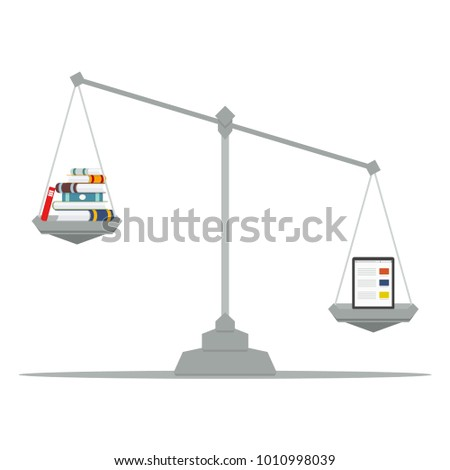 The tablet and books lying on the scales. Concept. The tablet is heavier than books. Vector illustration, flat design.