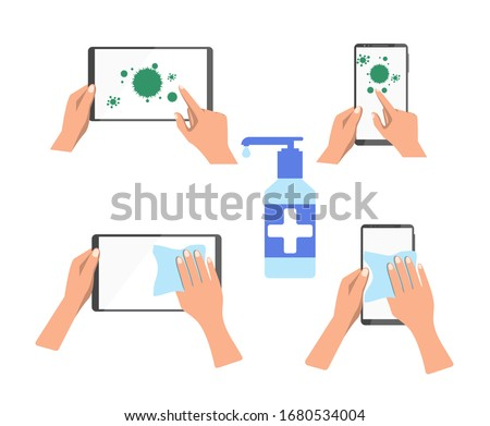 The tablet and phone are contaminated with germs. The hand cleans and disinfects the surface of devices with the help of a special tool. Vector, flat cartoon. Concept: disinfection, cleaning, gadget.