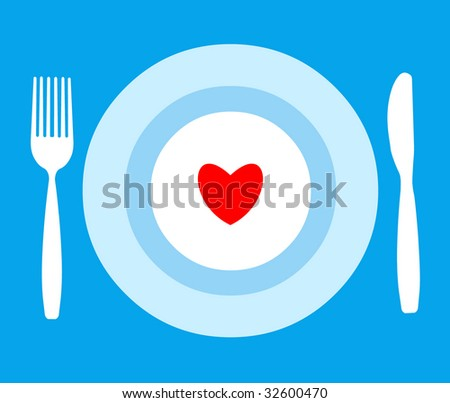 The tableware with heart