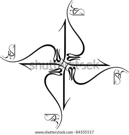 Arabic Islamic calligraphy of Allah O Akbar. Frame, beautiful.