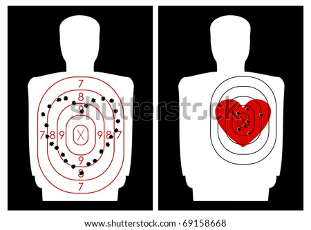 The target for shooting at a human silhouette with a heart