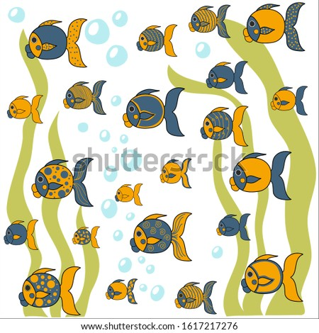 The task, the puzzle on the development of memory, mindfulness, perseverance. Find fish with the same pattern. Vector illustration.