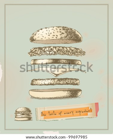 the taste of every ingredient hamburger- drawing