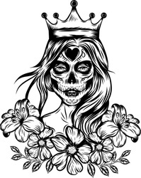 The tattoo inspiration of the face art queen tattoos with crown and vintage flower