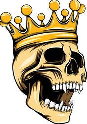 The tattoos illustration of the golden king skull with crown on the top