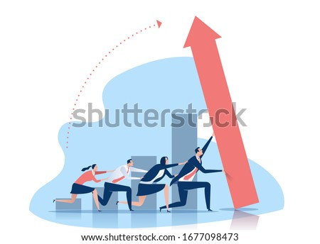 The team is working together to achieve a growth.  Business vector illustration.  Сток-фото ©