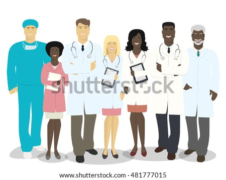 The team of doctors and medical staff isolated on white background vector illustration