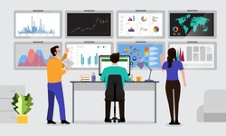 The teamwork together working analysis data analytics with large monitor display graph and chart. Vector illustrations.