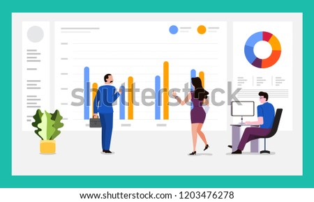 The teamwork together working analysis data analytics with large monitor display graph and chart. Vector illustrations. #1203476278