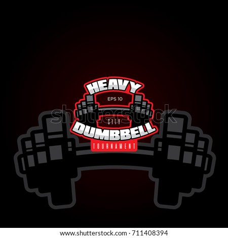 The template for the logo of the fitness center. Dumbbell on a black background.