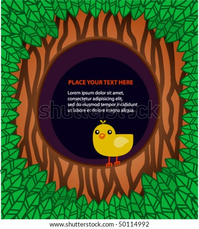 The template with a bird in the hollow of a tree