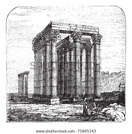 The Temple of Olympian Zeus, Olympieion or Columns of the Olympian Zeus, Greek, Athens. Vintage engraving. A colossal ruined temple in the centre of the capital of Athens, Greece.