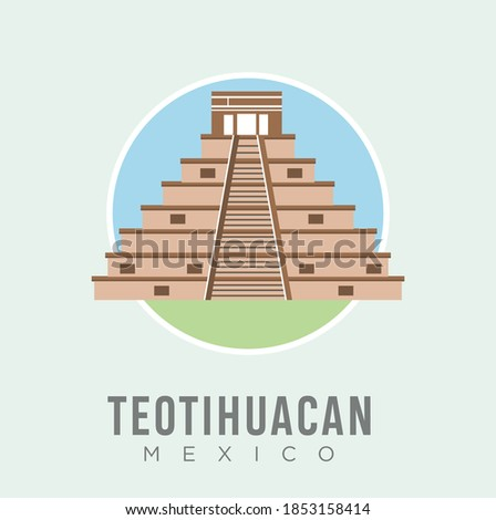 The teotihuacan pyramids in Mexico design vector stock illustration, North America. Ancient stepped pyramids with temples on top. Mesoamerican architectural landmark. Mexico Travel and Attraction Foto stock ©