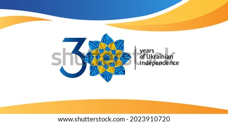 The 30th anniversary logo of Ukraine National Day, 2021. Ukrainian text illustration with translation in English: 30 year of Ukrainian independence. Vector for banner, background, poster and others.