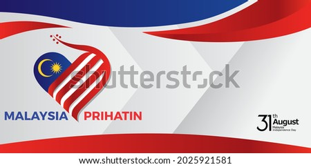 """The 64th Malaysia National Day logo. Colorful abstract design with Malaysian typography """"Malaysia Prihatin"""" with the translation in English: Malaysia concerned. Vector illustration."""