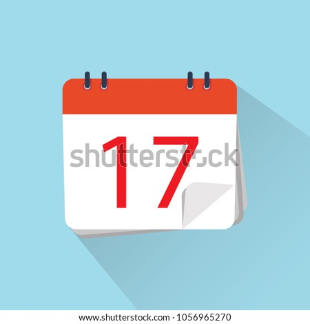 The 17th of the mounth. Vector illustration. Flat icon of calendar isolated on a background.