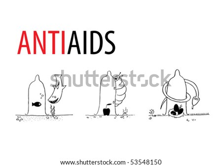 The theme of work-propagation of safe sex. The author's hand -drawing of characters - stock vector