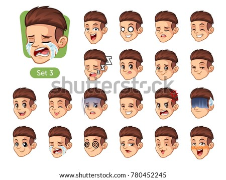 The third set of male facial emotions cartoon character design with red hair and different expressions, cry, sleep, pissed of, embarrassed, fear, triumph, confused, fear, etc. vector illustration.