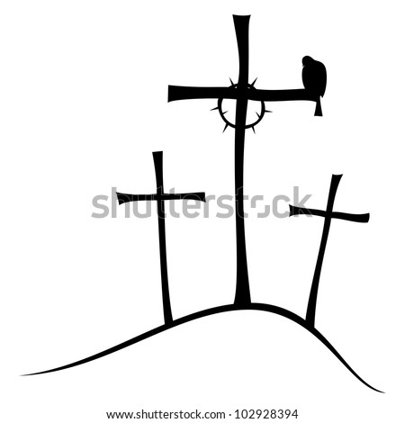 The three crosses on Golgotha, crown of thorns and doves.