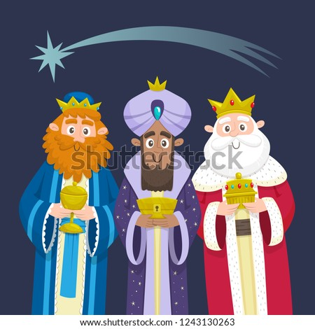 The three Kings of Orient Chrismas card. Three Wise Men. Cartoon character design. Melchior, Gaspard and Balthazar with presents for Jesus. Vector illustration.
