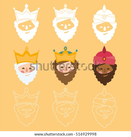 the three kings of orient. 3 magi icons vector yellow set