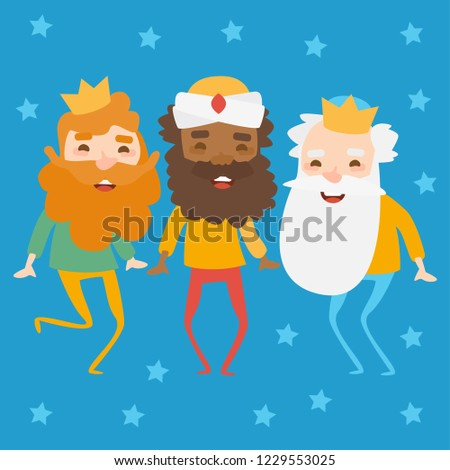 The three kings of orient on a blue background. Wise men Caspar, Melchior and Balthazar