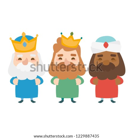 The three kings of orient on a white background. 3 Magi. Wise men Caspar, Melchior and Balthazar
