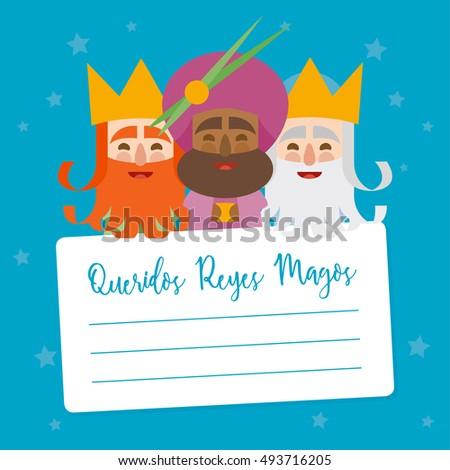 The three kings of orient. vectorized letter. Dear wise men written in Spanish