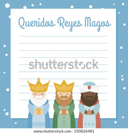 the three kings of orient. vectorized letter on a blue background