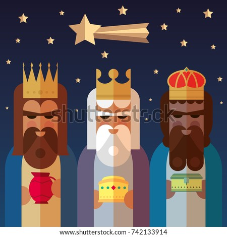 The three Kings of Orient. Wise men illustration.