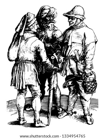 The Three Peasants was created by artist Albrecht Dürer, vintage line drawing or engraving illustration.