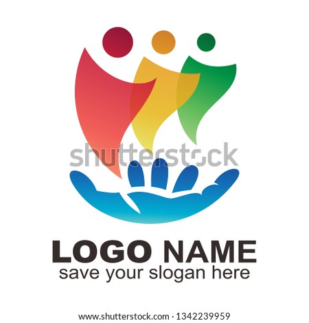 The three person logo is in hand, People hand logo - Vector