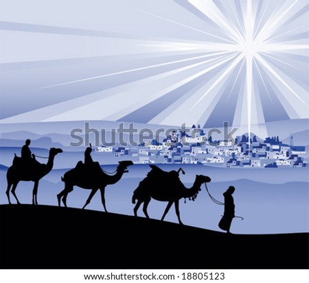 The three wise men, vector illustration