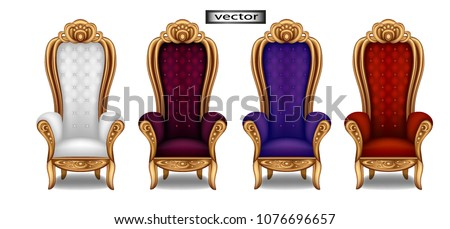 The throne of the king in the throne room, red, blue, white, purple icon to the throne. Vector illustration of crown icon for web design