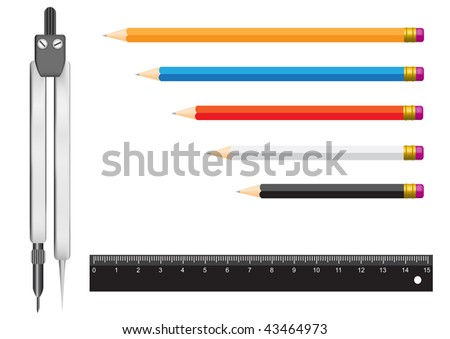 The tools isolated on a white background for geometry. Pencils, a ruler and a compasses