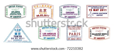 The top 10 world's busiest airports passport stamps in vector format. Foto stock ©