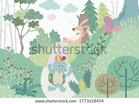 The tortoise and the hare vector illustration cartoon.  Aesop's fables The turtle and the rabbit.