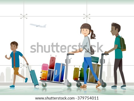 the tourist pushing baggage