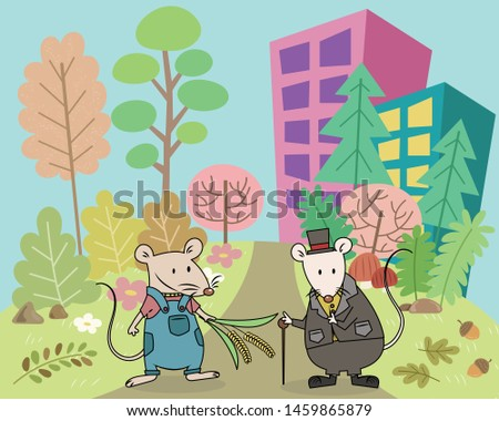 The Town Mouse and the Country Mouse Aesop's fables. The town mouse and the country mouse Aesop fairy tales vector illustration pastel cartoon.