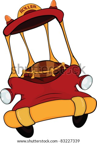 The toy red car. Cartoon.