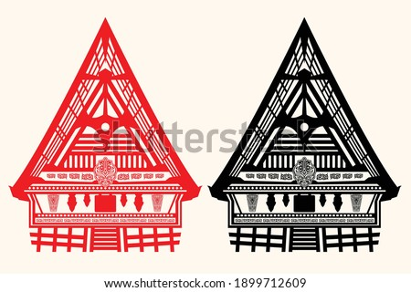The traditional house of the Batak tribe, a tribe located in North Sumatra Province, Indonesia