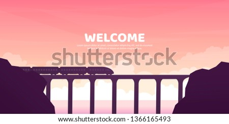 The train goes by the bridge. Vector illustration. Landscape in a flat style. Canyon